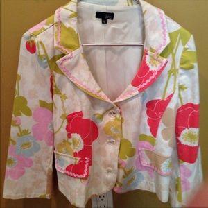 Zinc Floral Print Cotton Jacket w/ Pink Ric Rac L
